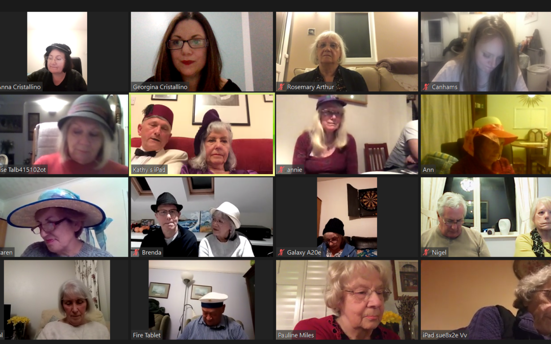 A group of singers meet up for an online singing session.