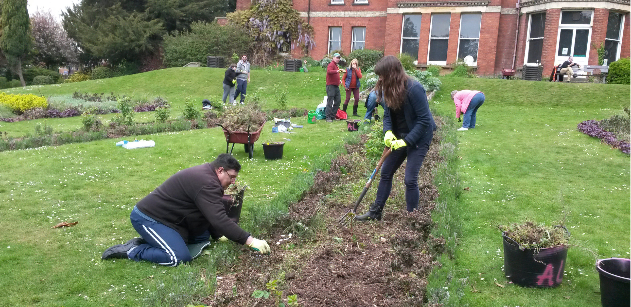 A group of ActivLives volunteers tend to a public garden in Sudbury